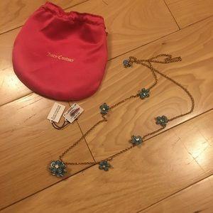 Juicy Couture blue flower necklace